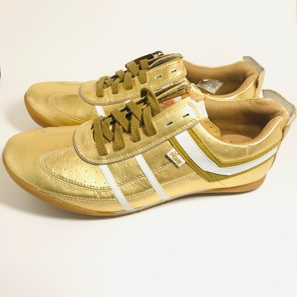 Gold Leather Sneakers Athletic Nwt